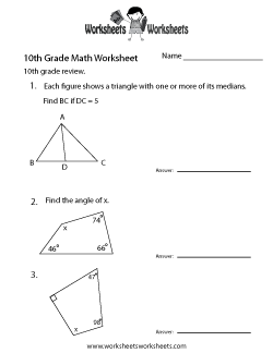 10th Grade Math Review Worksheet