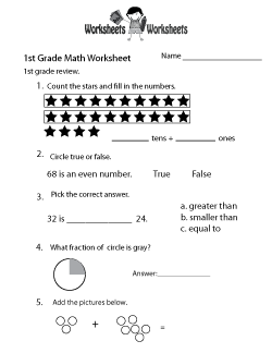 1st Grade Math Review Worksheet