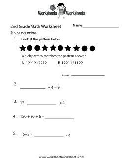 2nd Grade Math Review Worksheet