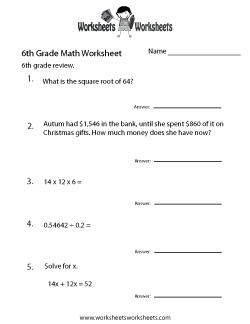 math worksheet : 6th grade math worksheets  free printable worksheets for teachers  : Sixth Grade Math Worksheet