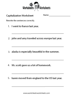 Capitalization Practice Worksheet