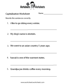 Middle School Capitalization Worksheet