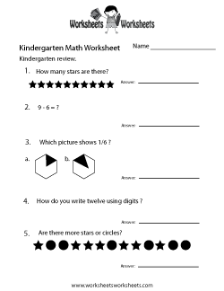 Kindergarten Math Review Worksheet
