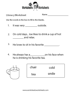 Kindergarten Literacy Worksheet