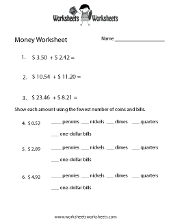 Adding Money Worksheet