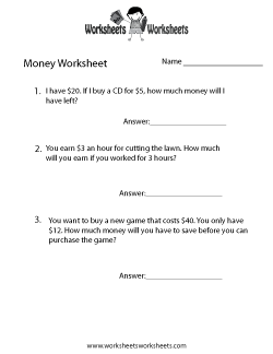 Money Word Problems Worksheet