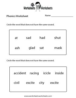 First Grade Phonics Worksheet