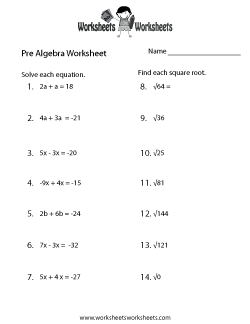Pre-Algebra Worksheets - Free Printable Worksheets for ...