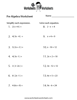 Pre-Algebra Worksheets - Free Printable Worksheets for Teachers ...