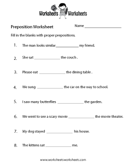 Preposition Practice Worksheet