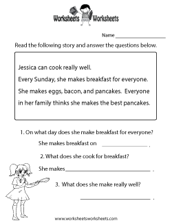 Reading Comprehension Test Worksheet