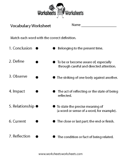 English Vocabulary Worksheet