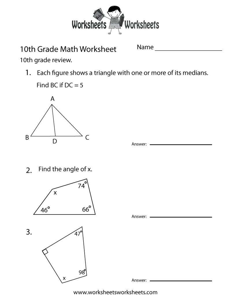 10th Grade Math Review Worksheet Printable