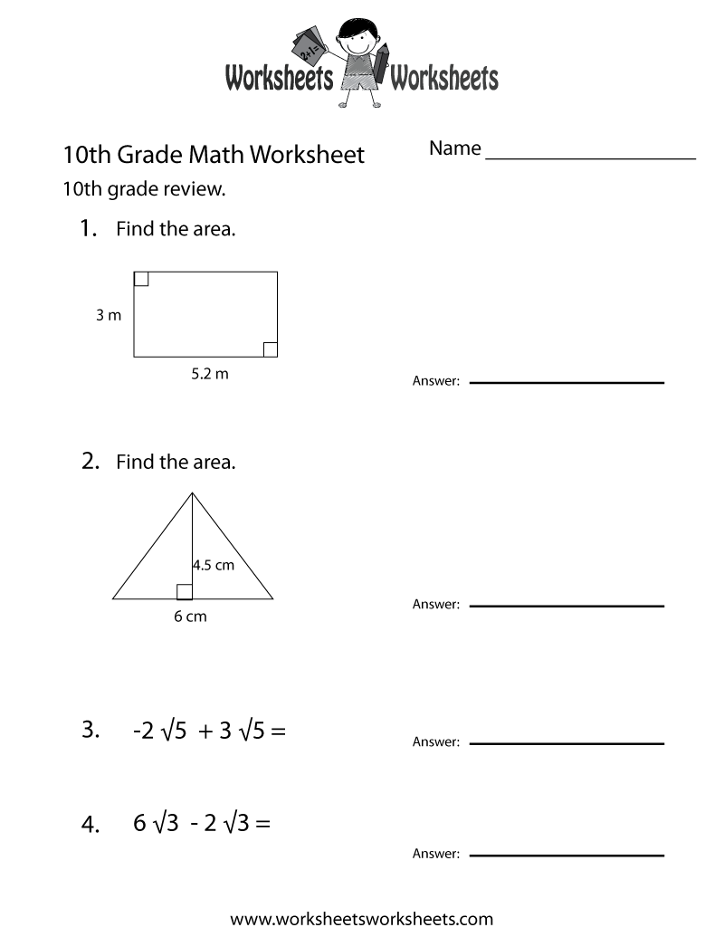 Tenth Grade Math Practice Worksheet - Free Printable Educational ...