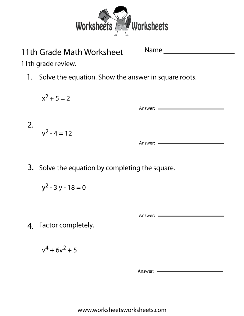 Eleventh Grade Math Practice Worksheet Printable