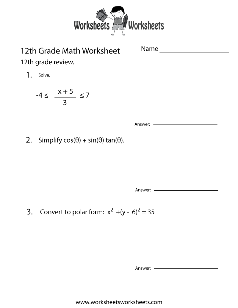 Two ways to print this free 12th grade math educational worksheet: