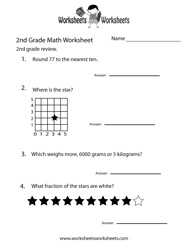 Second Grade Math Practice Worksheet Free Printable Educational – Fraction Worksheets for Second Grade