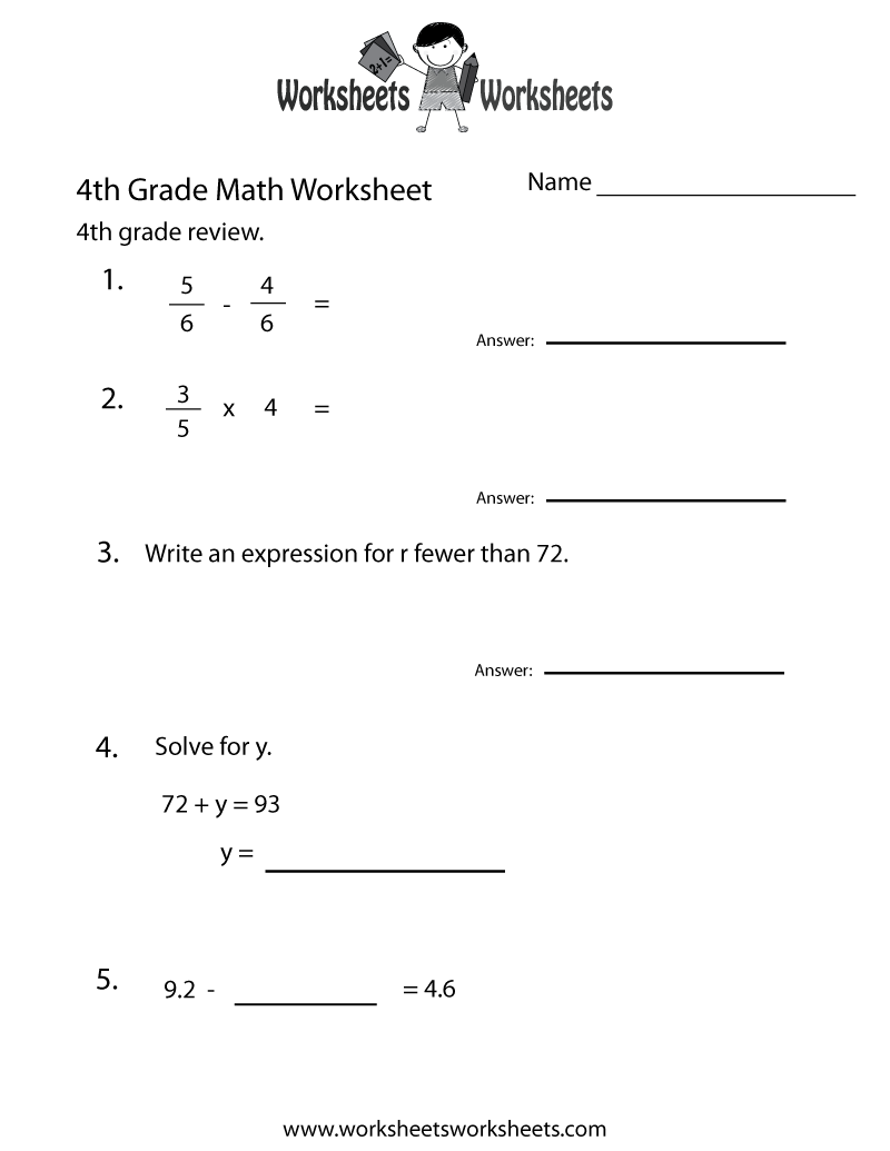 Worksheets Fourth Grade Math Worksheet 4th grade math worksheets free printable for teachers fourth practice worksheet