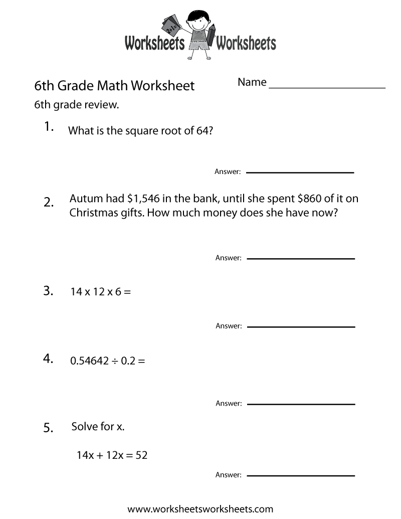 Sixth Grade Math Practice Worksheet Printable