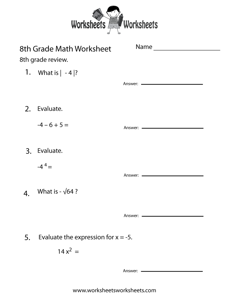 Worksheets Eighth Grade Math Worksheets 8th grade math worksheets free printable for teachers review worksheet
