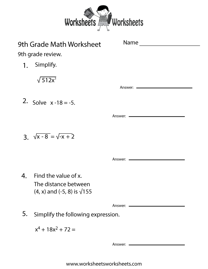 Worksheets Math Worksheets For 9th Graders 9th grade math worksheets free printable for teachers ninth practice worksheet