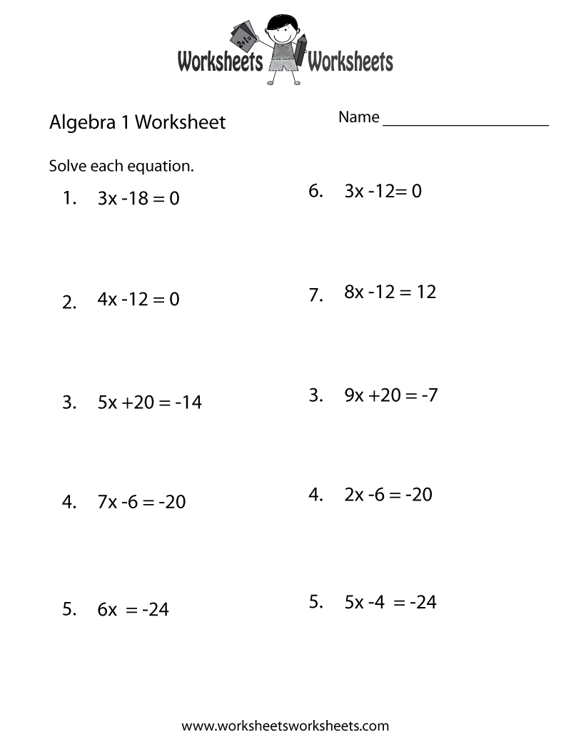 Algebra 1 Practice Worksheet - Free Printable Educational Worksheet