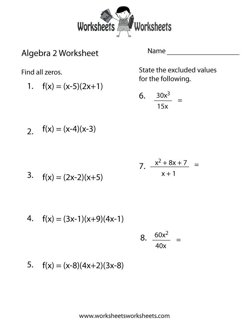 Algebra 2 Practice Worksheet Printable