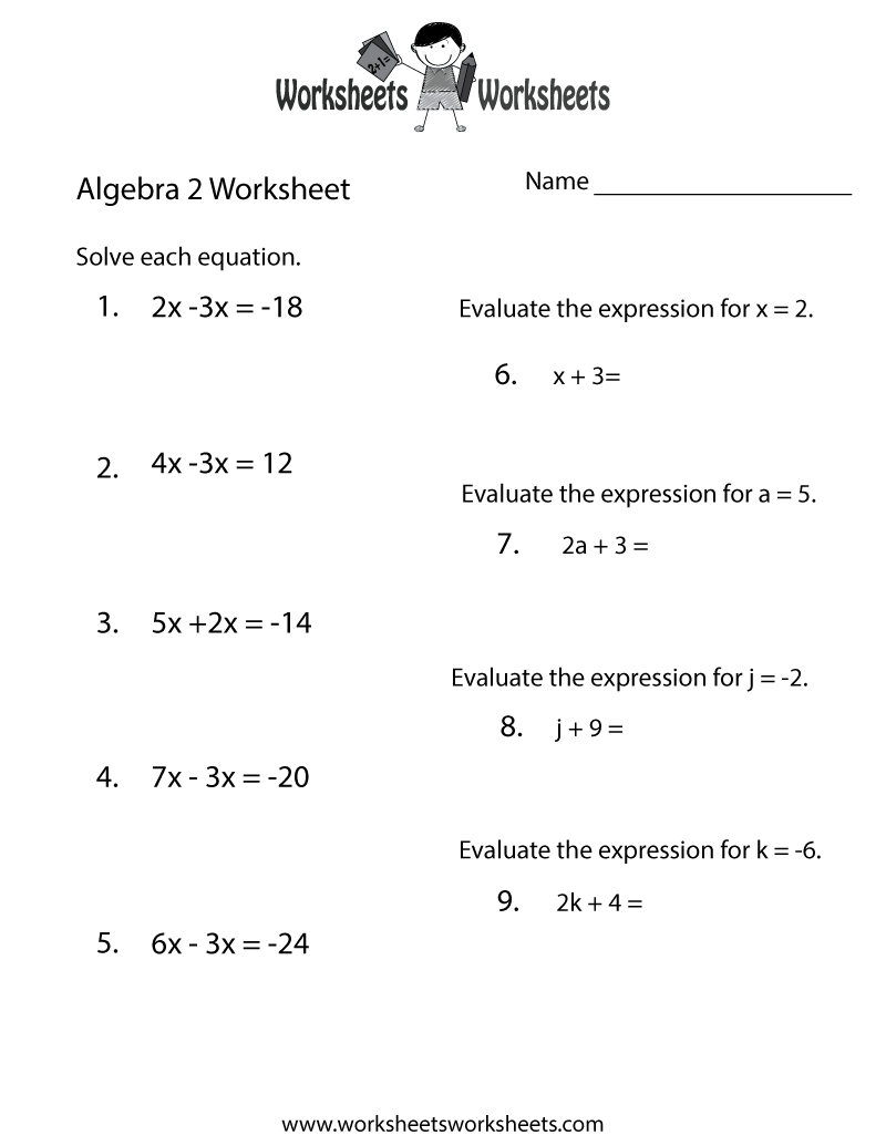 Printables Printable Algebra Worksheets algebra 2 worksheets free printable for teachers and kids review worksheet