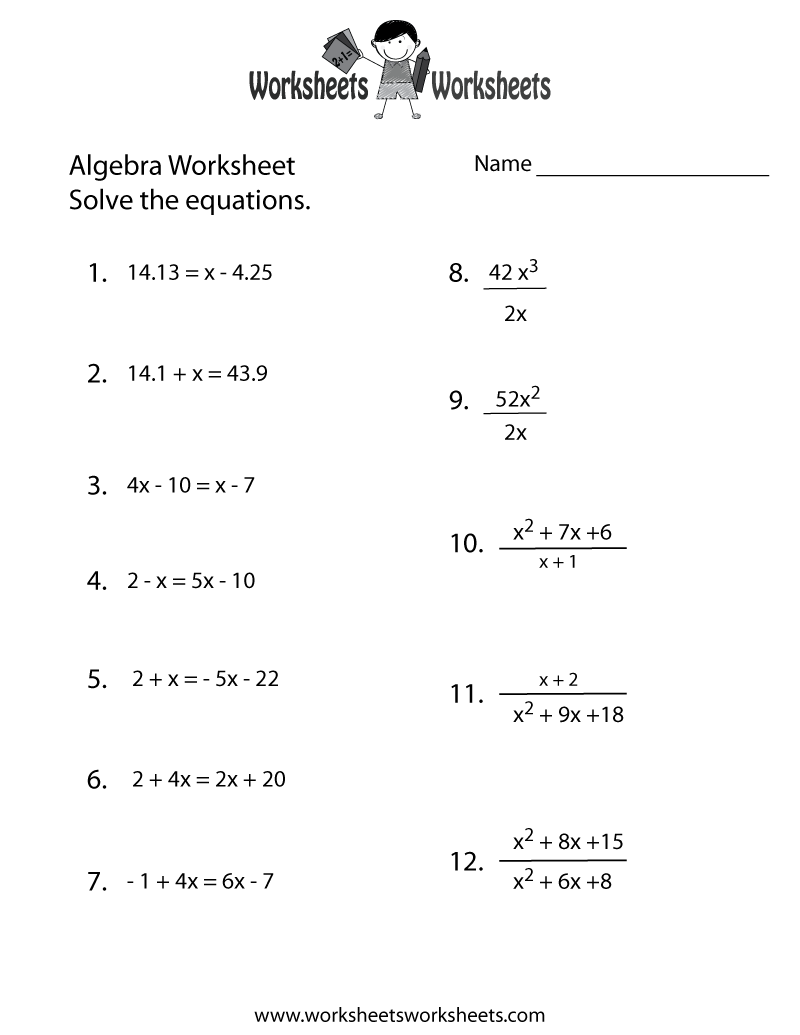 Algebra Practice Worksheet - Free Printable Educational Worksheet