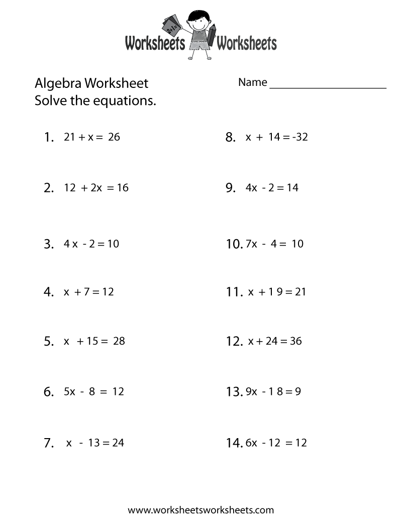 Simple Algebra Worksheet - Free Printable Educational Worksheet