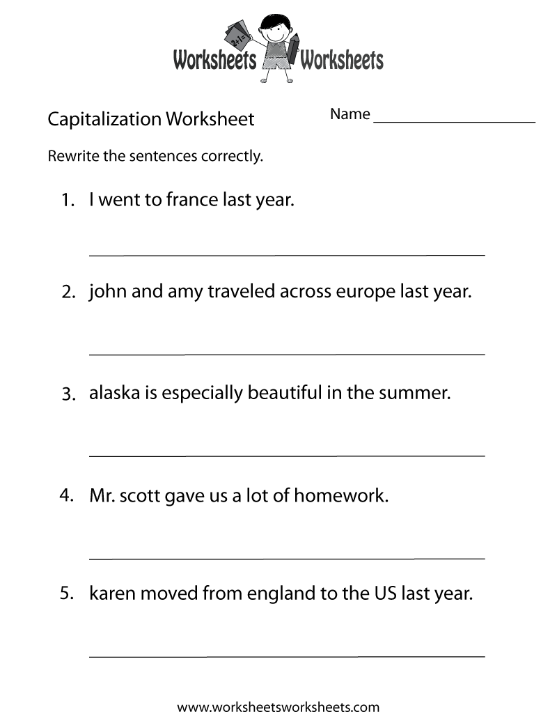 Capitalization Practice Worksheet Printable