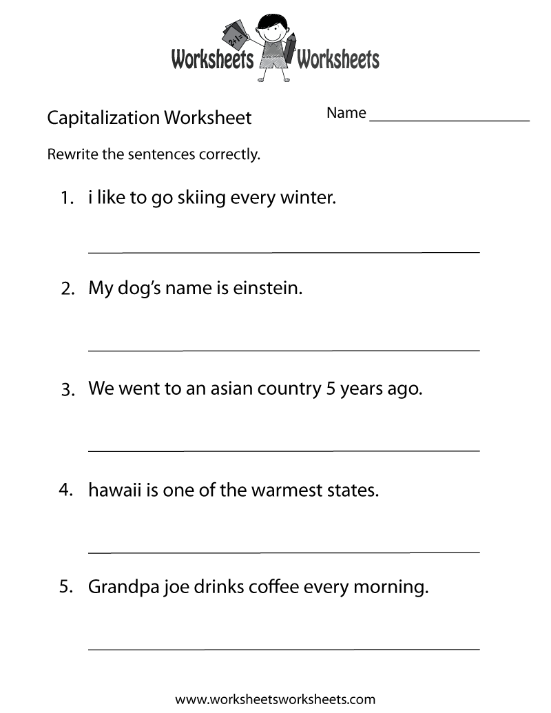 Worksheets Capitalization Worksheet capitalization worksheets free printable for teachers middle school worksheet