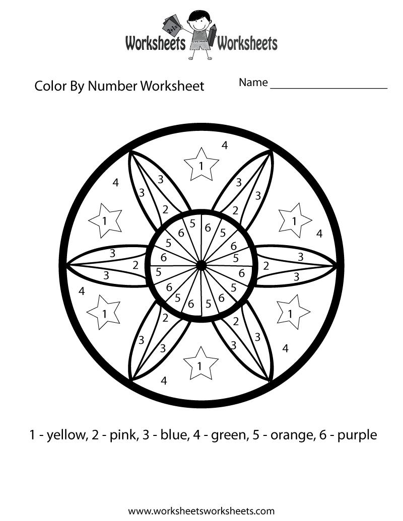 Color By Number Math Worksheet  Free Printable Educational Worksheet