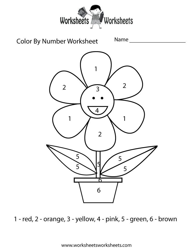 Easy Color By Number Worksheet - Free Printable Educational Worksheet