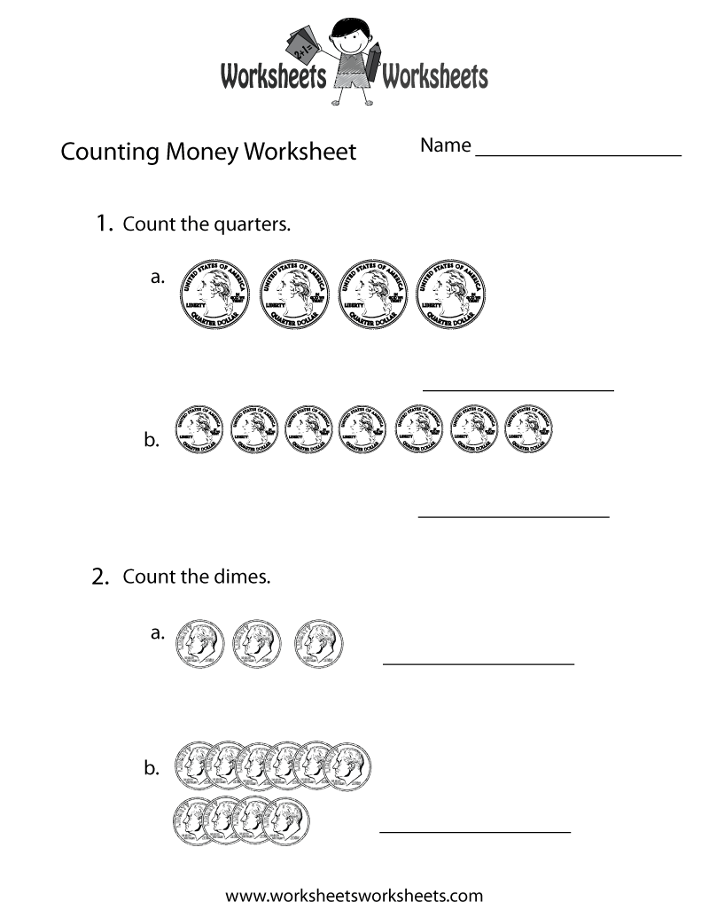 Easy Counting Money Worksheet - Free Printable Educational Worksheet