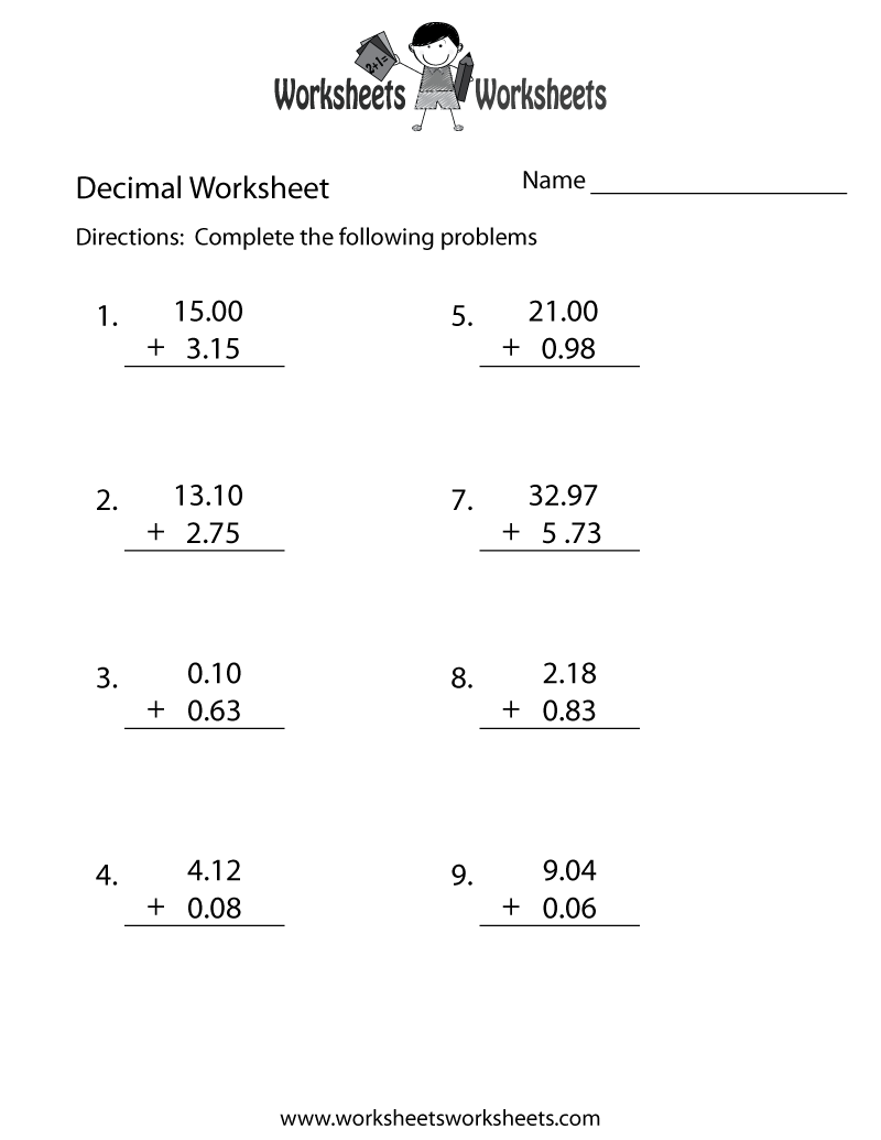 math worksheet : decimal addition worksheet  free printable educational worksheet : Subtraction And Addition Worksheets
