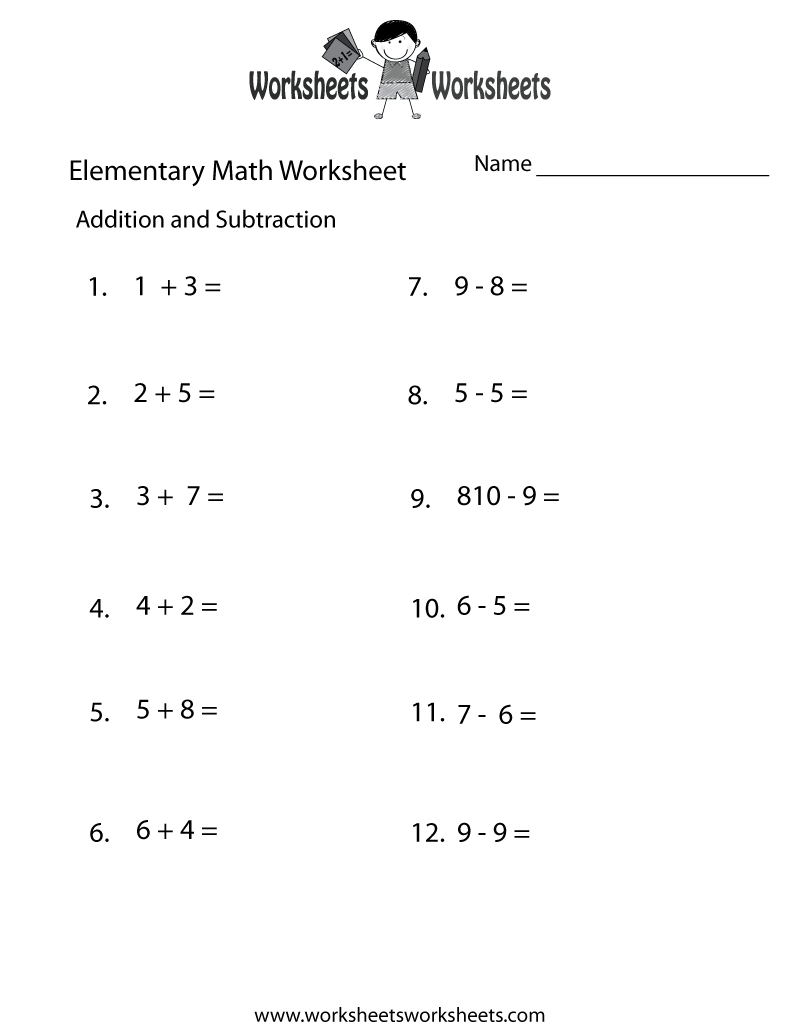 Addition and Subtraction Elementary Math Worksheet Printable