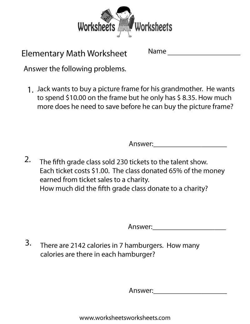 math worksheet : elementary math word problems worksheet  free printable  : Math Word Problems Worksheets 5th Grade