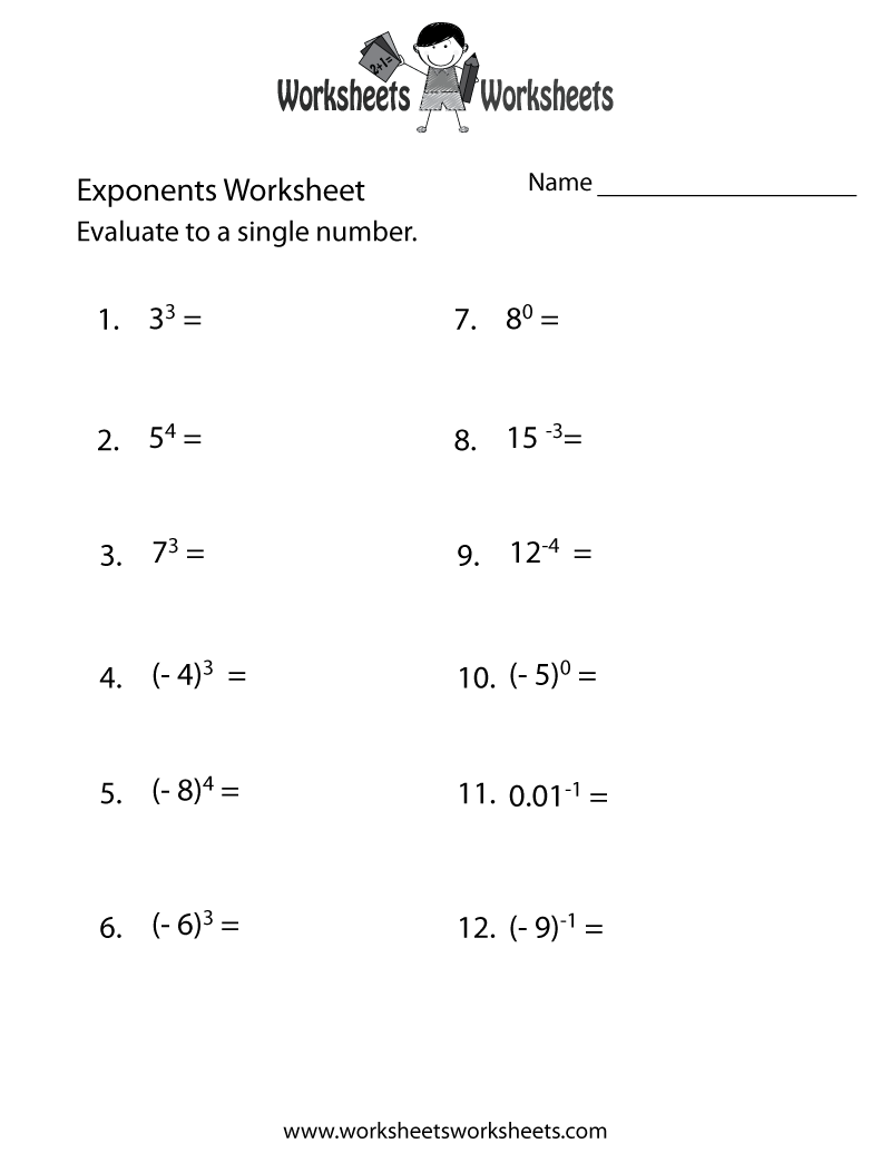 Exponents Practice Worksheet Printable