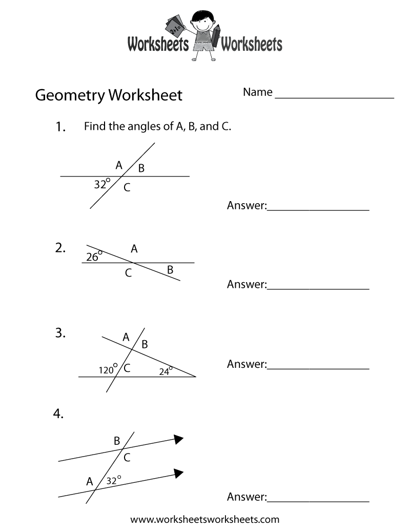 worksheet Geometry 10th Grade Worksheets geometry angles worksheet free printable educational printable