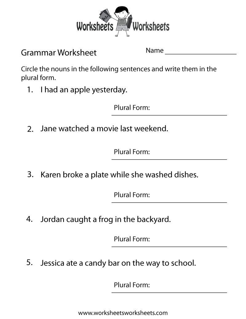 English Grammar Worksheet on Number 8 Worksheets