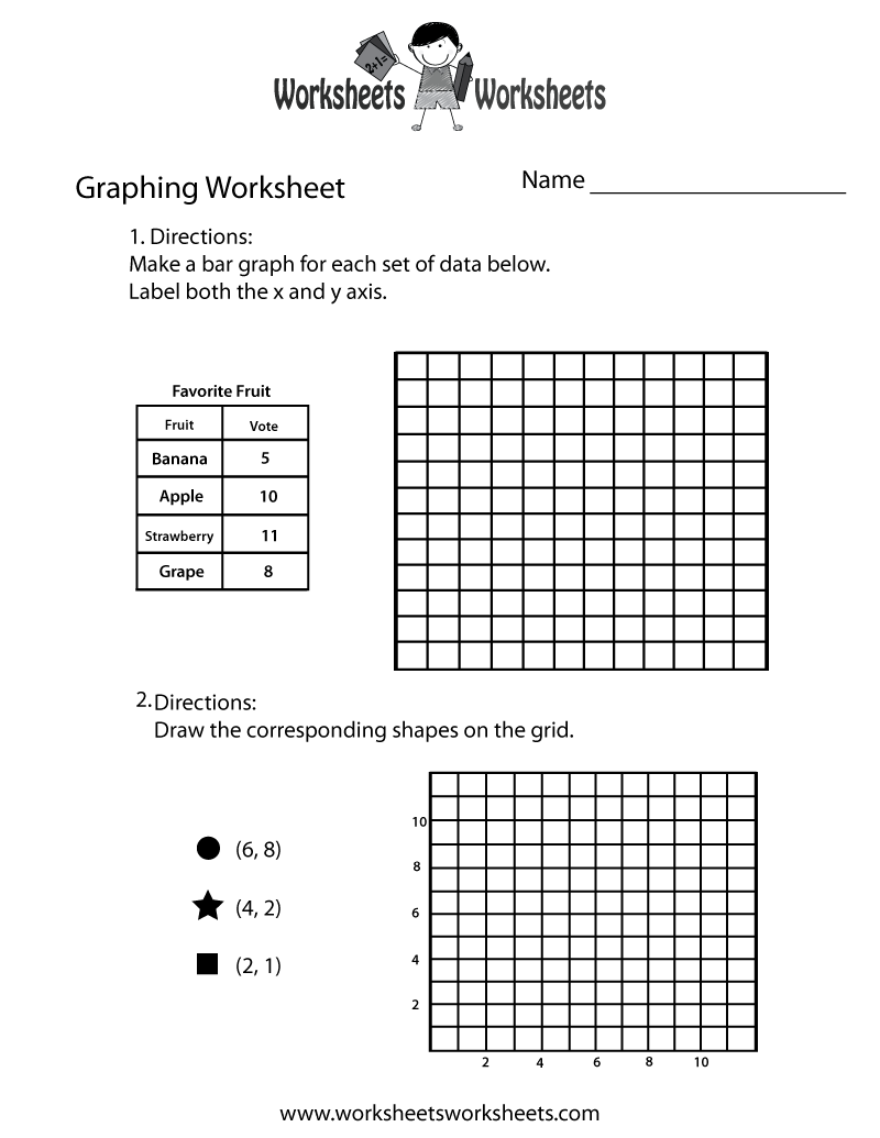 Worksheets Graphing Practice Worksheet bar graphs first grade picture 1a favorite shapes