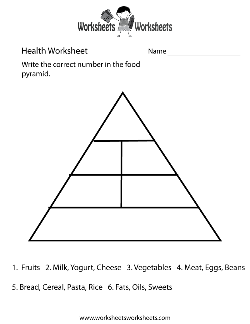 Food Pyramid Health Worksheet - Free Printable Educational Worksheet