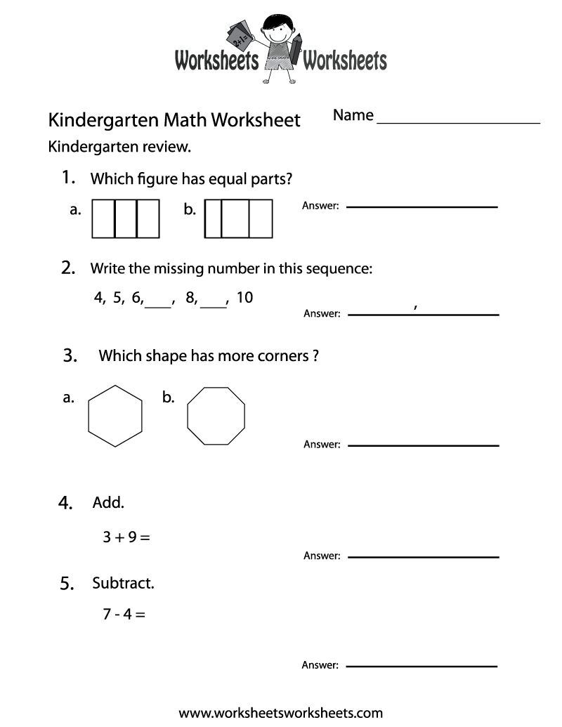 Free Printable Math Worksheets Kindergarten – Printable Math Worksheets Kindergarten