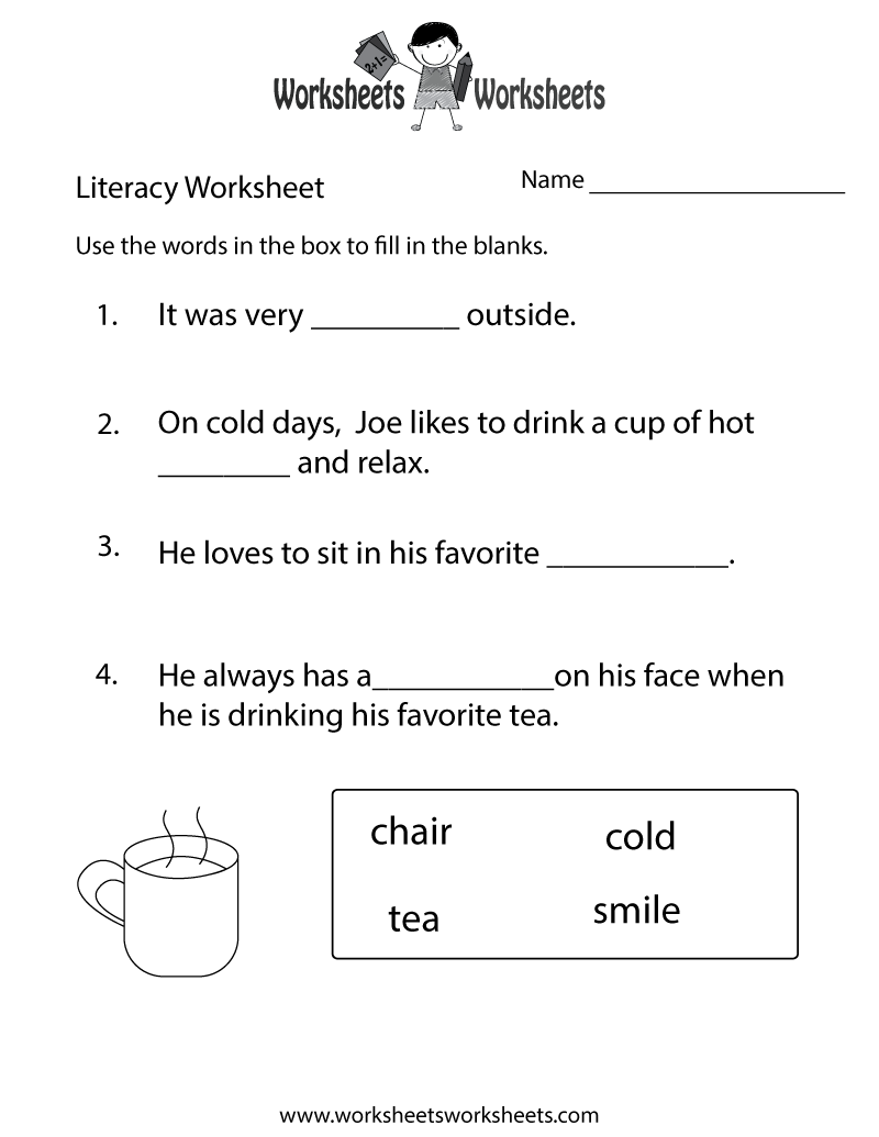 kindergarten literacy worksheet free printable educational worksheet