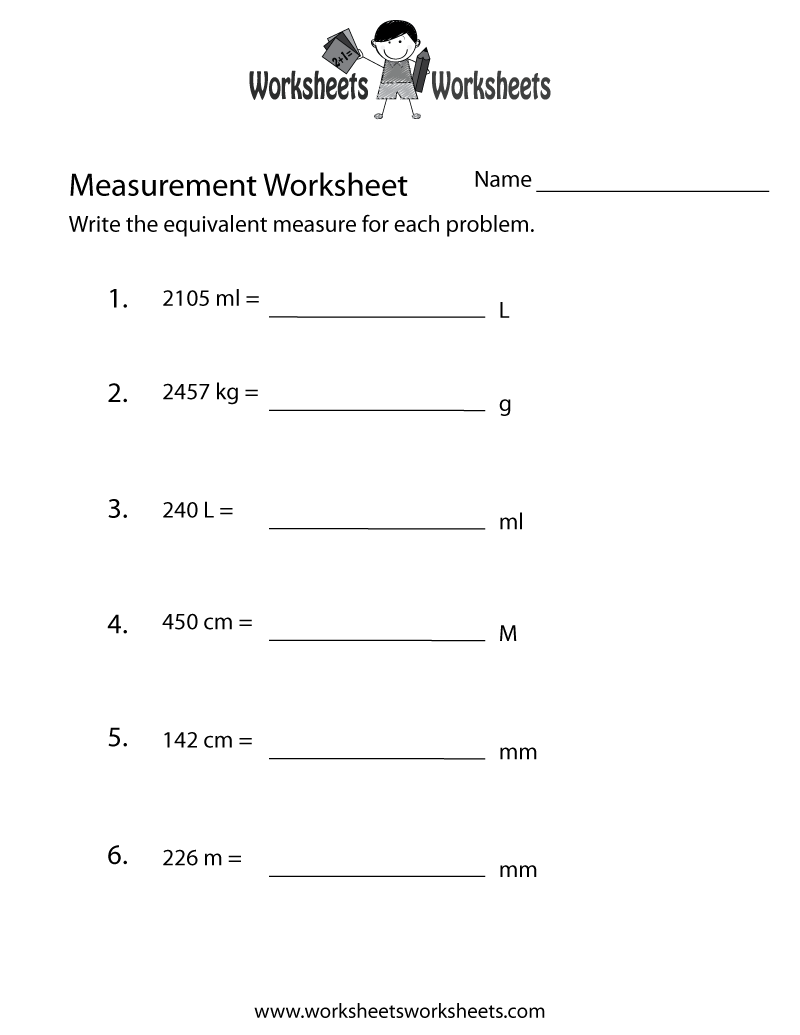 Measurement Conversion Worksheet Printable