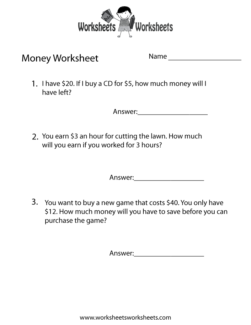 Free worksheets on money word problems