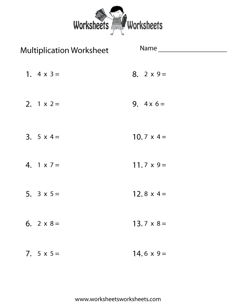 Fun Multiplication Worksheet Printable