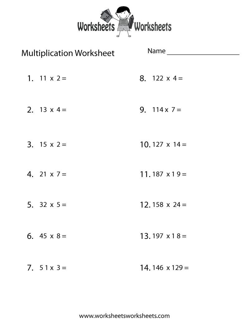 Multiplication Problems Worksheet Printable