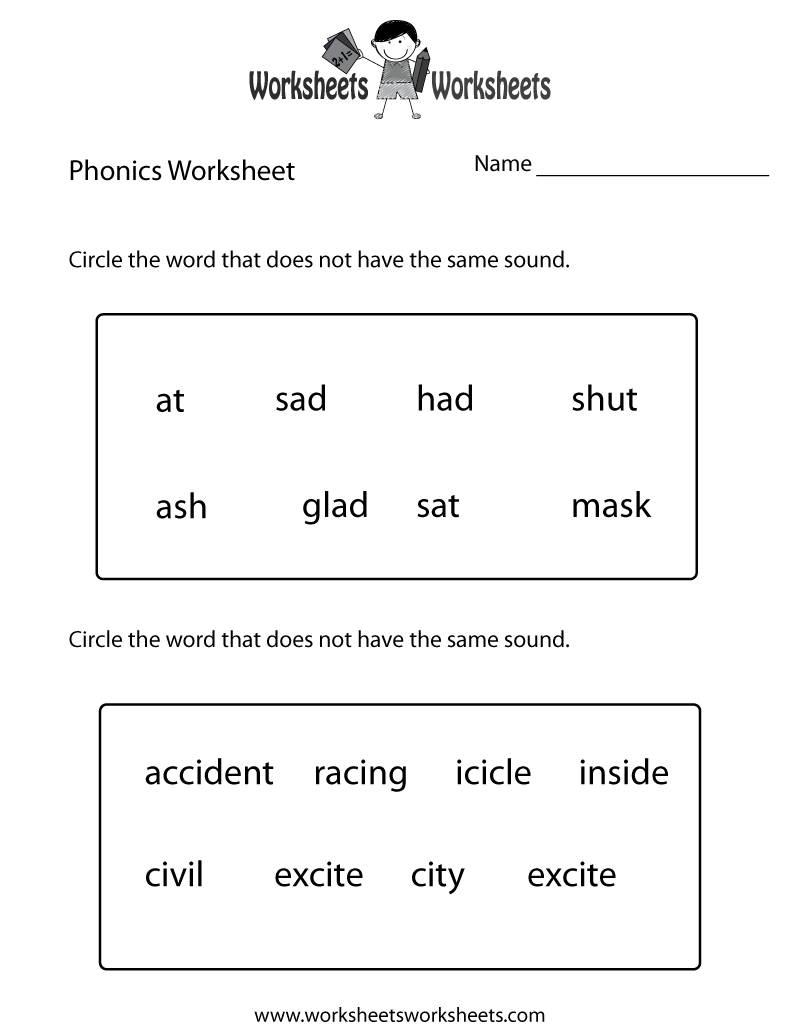 Free Printable First Grade Phonics Worksheet